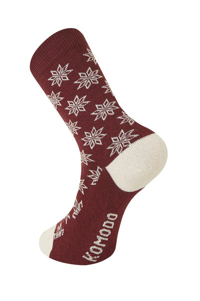 CHRISTMAS Eve Burnt Red Organic Cotton Socks - Komodo Fashion