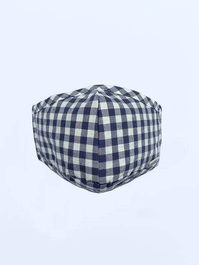 REUSABLE FACE FABRIC FACE MASK - GINGHAM BLUE