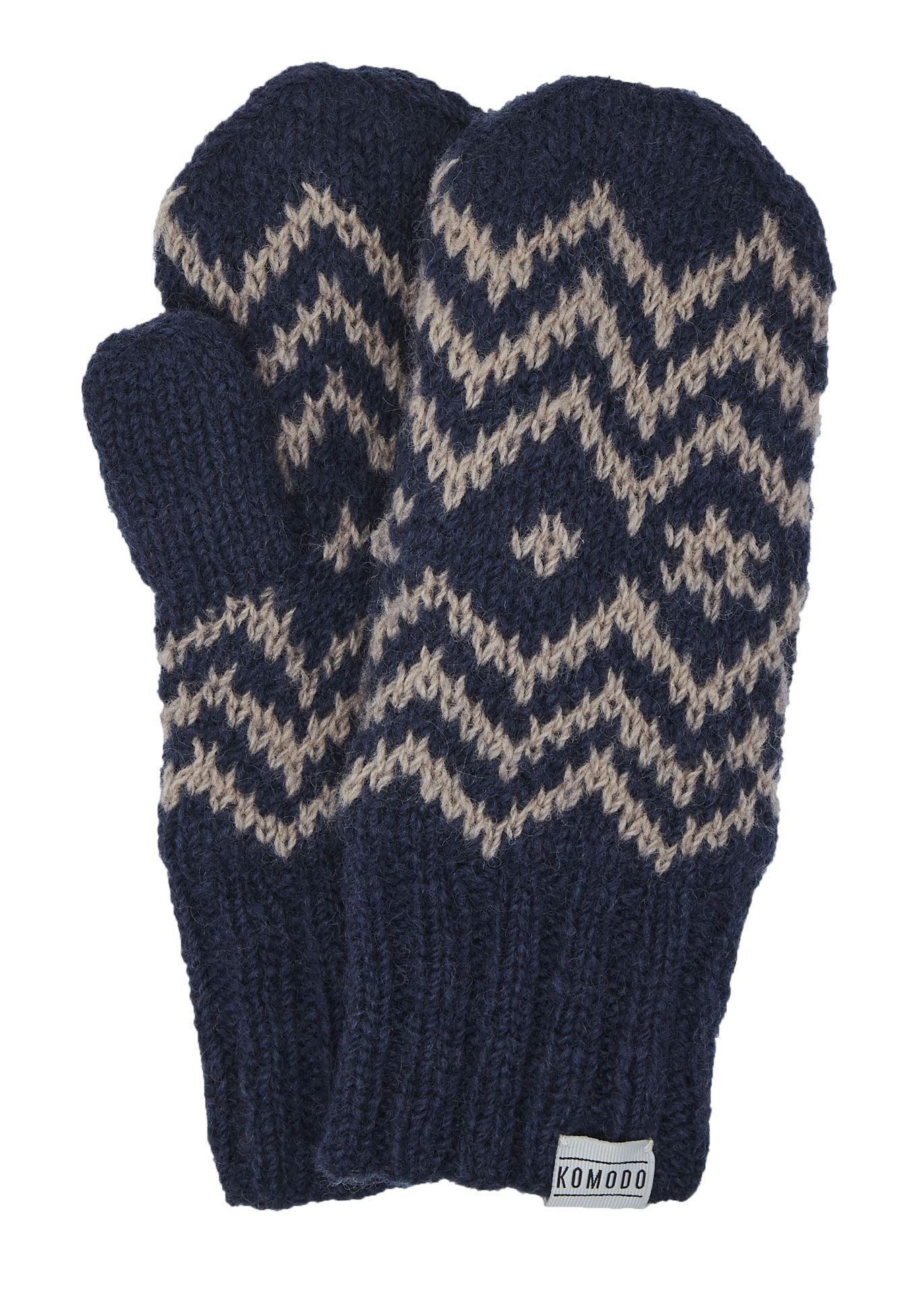 TERRY Lambswool Mittens Dark Ink