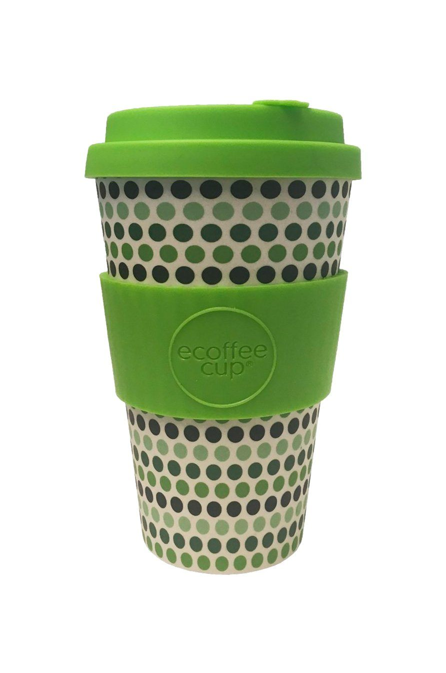 Green Polka XL Reusable Bamboo Cup