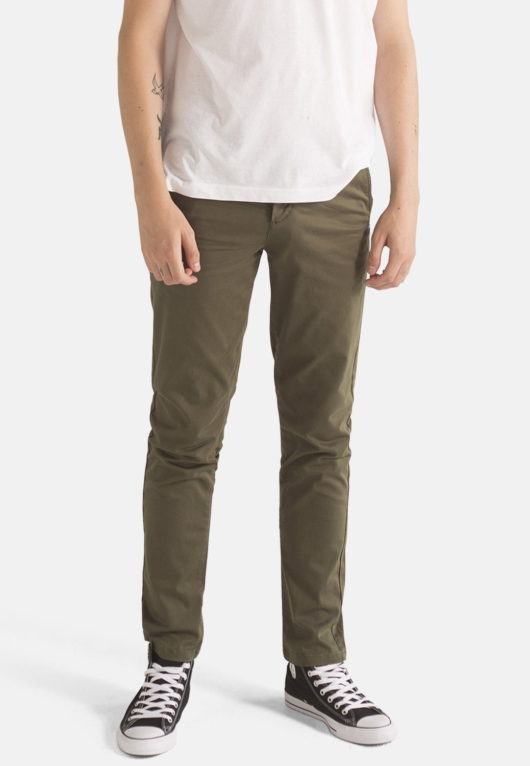 Jeans - MONKEE Mens Organic Chino In Olive Green