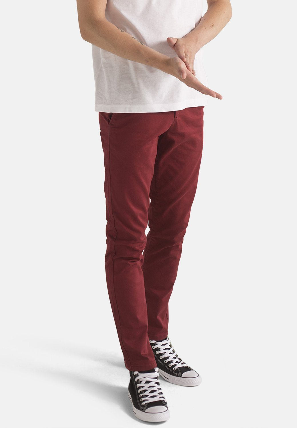 Jeans - MONKEE Mens Organic Chino In Wine