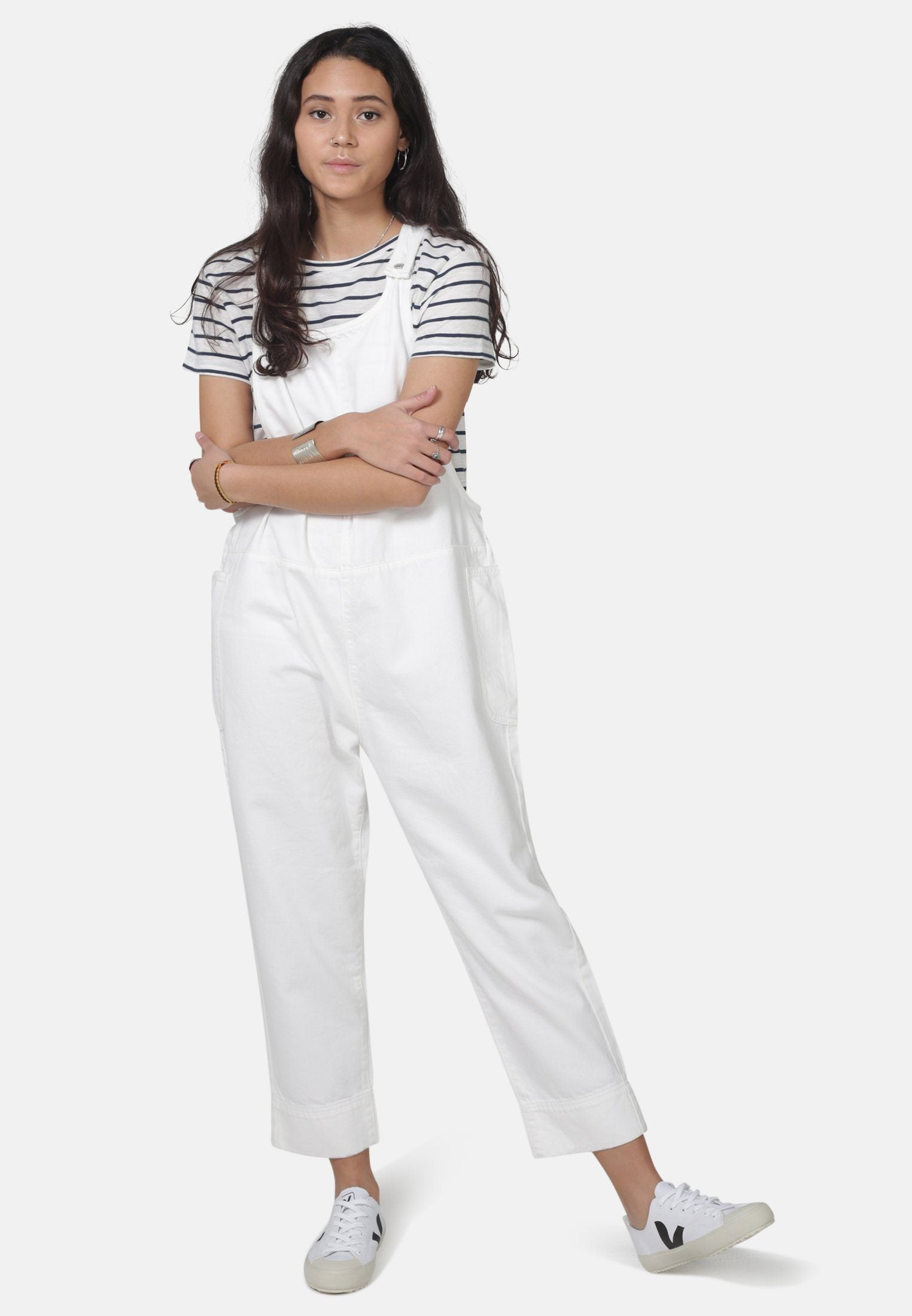 Sustainable White Denim Overalls by MONKEE Genes | Organic Cotton