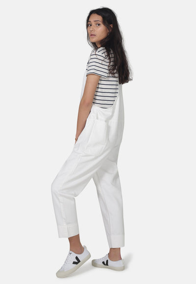 White Organic Cotton Overall Dungarees - Komodo Fashion
