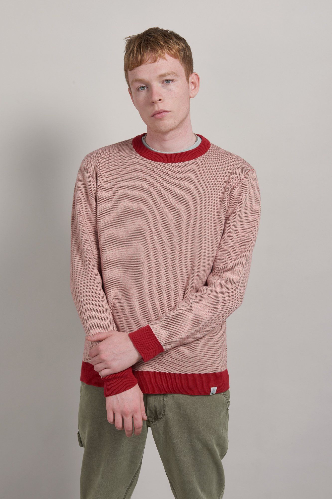 Jumper - CARL Organic Cotton Jumper Burnt Red & Oatmeal