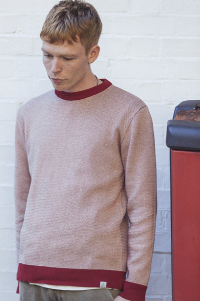 CARL Organic Cotton Jumper Burnt Red & Oatmeal - Komodo Fashion