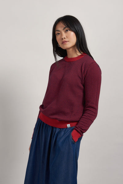 HANNA Organic Cotton Jumper Navy & Burnt Red - Komodo Fashion