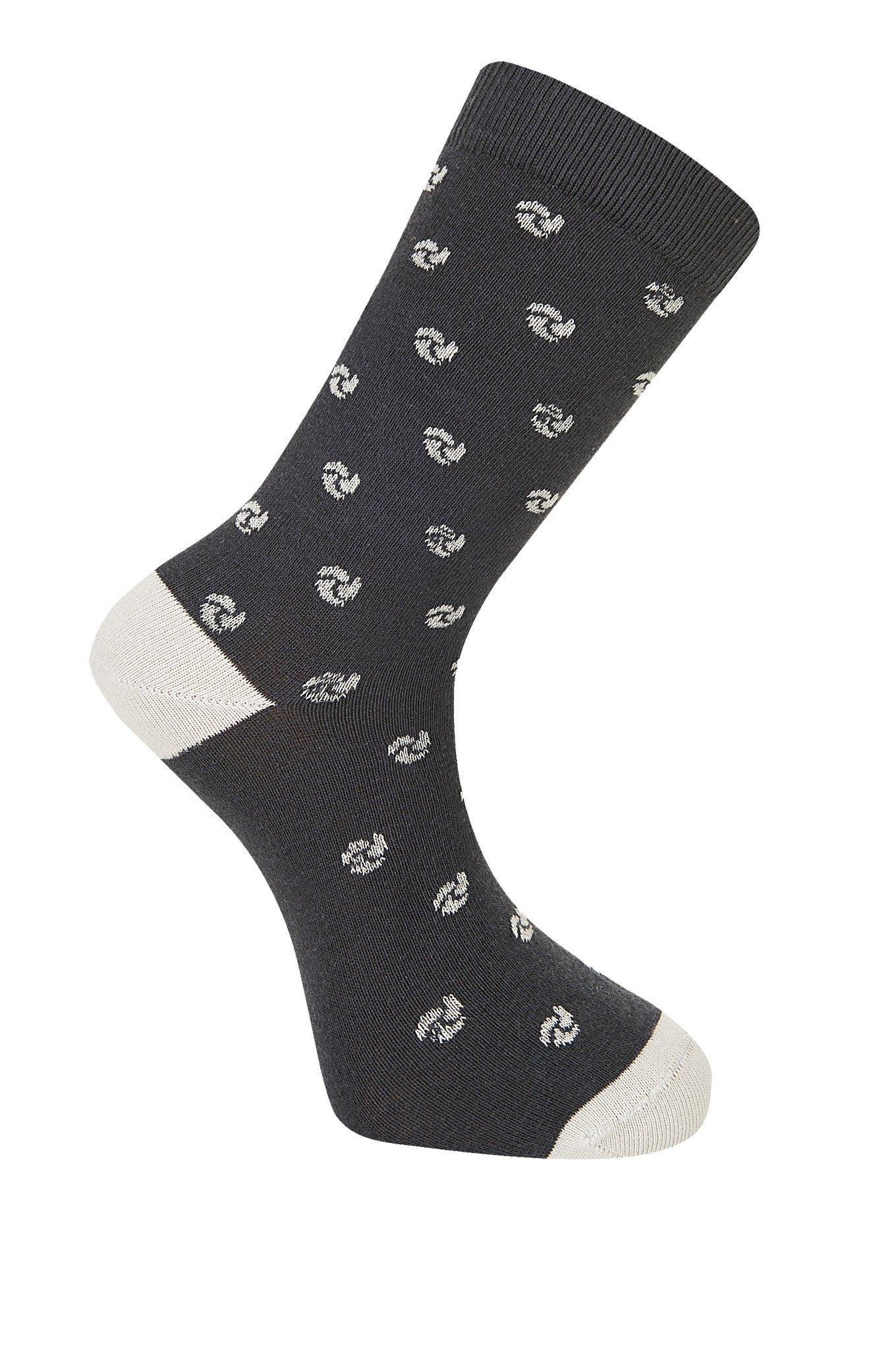 SASHIKO WAVE Coal Organic Cotton Socks - Komodo Fashion