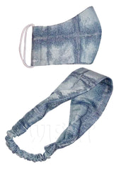 Denim Face Mask & Matching Headband Set
