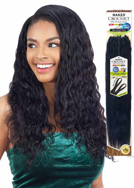 Naked Pre-loop Loose Deep 100% Human Hair Wet & Wavy Crochet Braids