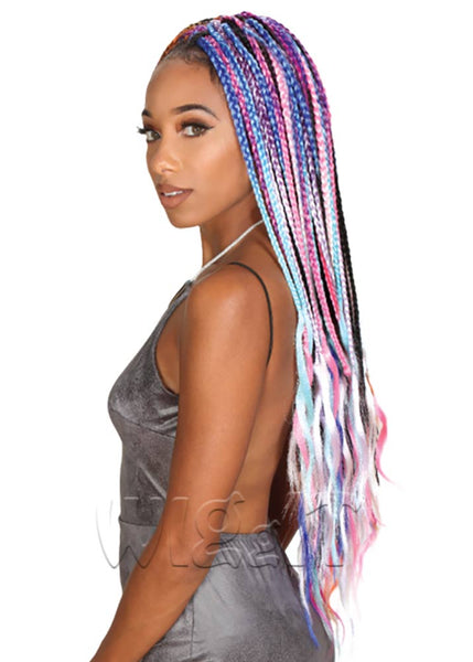 Neon Box Braids Orange/Blue