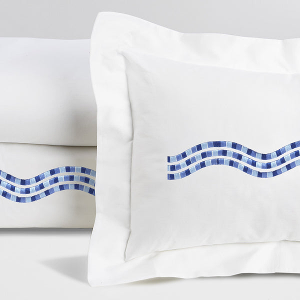 Onde - White with Blue Embroidery
