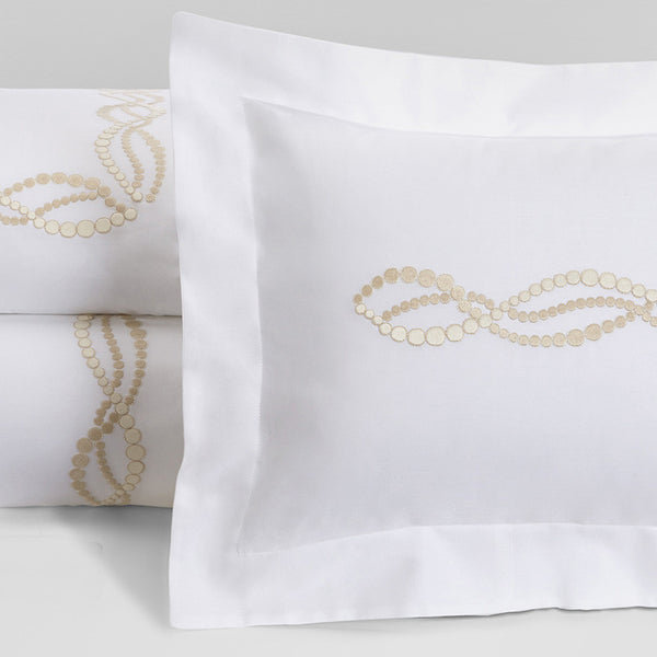 Perle - White with Beige and Ivory Embroidery