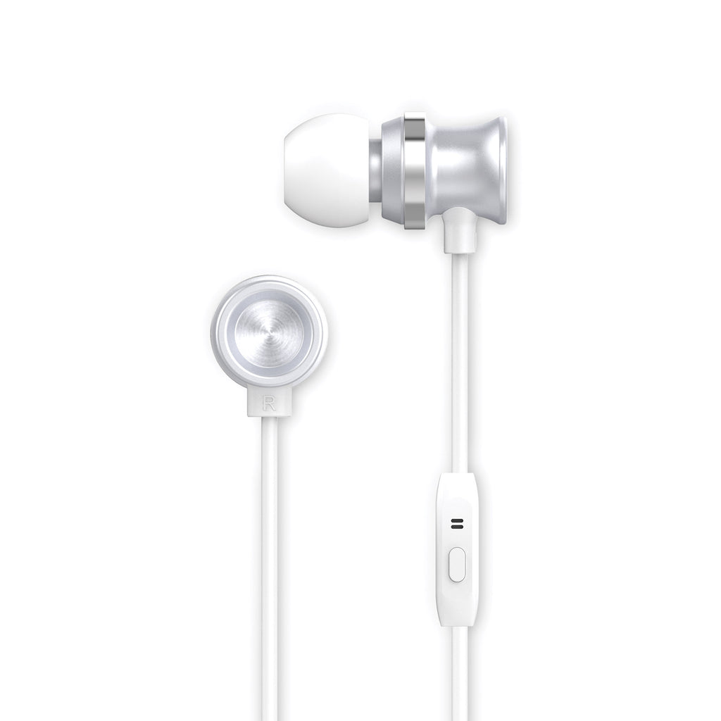 Metallic Earbuds, Silver