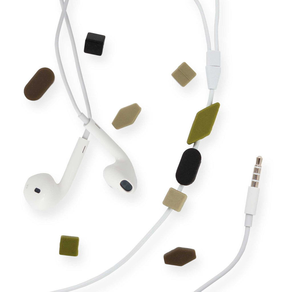 Earphone Cable Beads, Camo Faceted