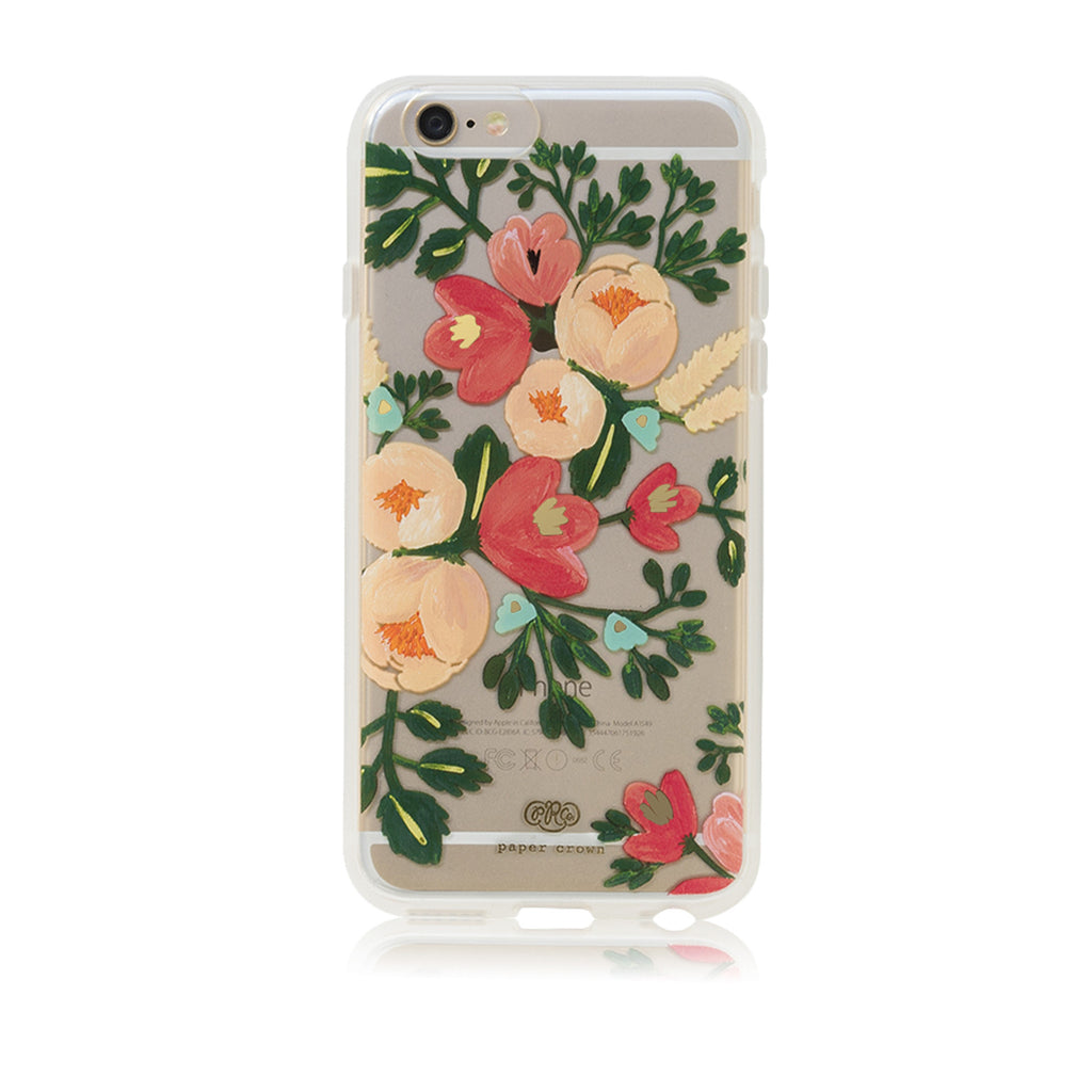 Case iPhone 6+, Clear Peach Blossom