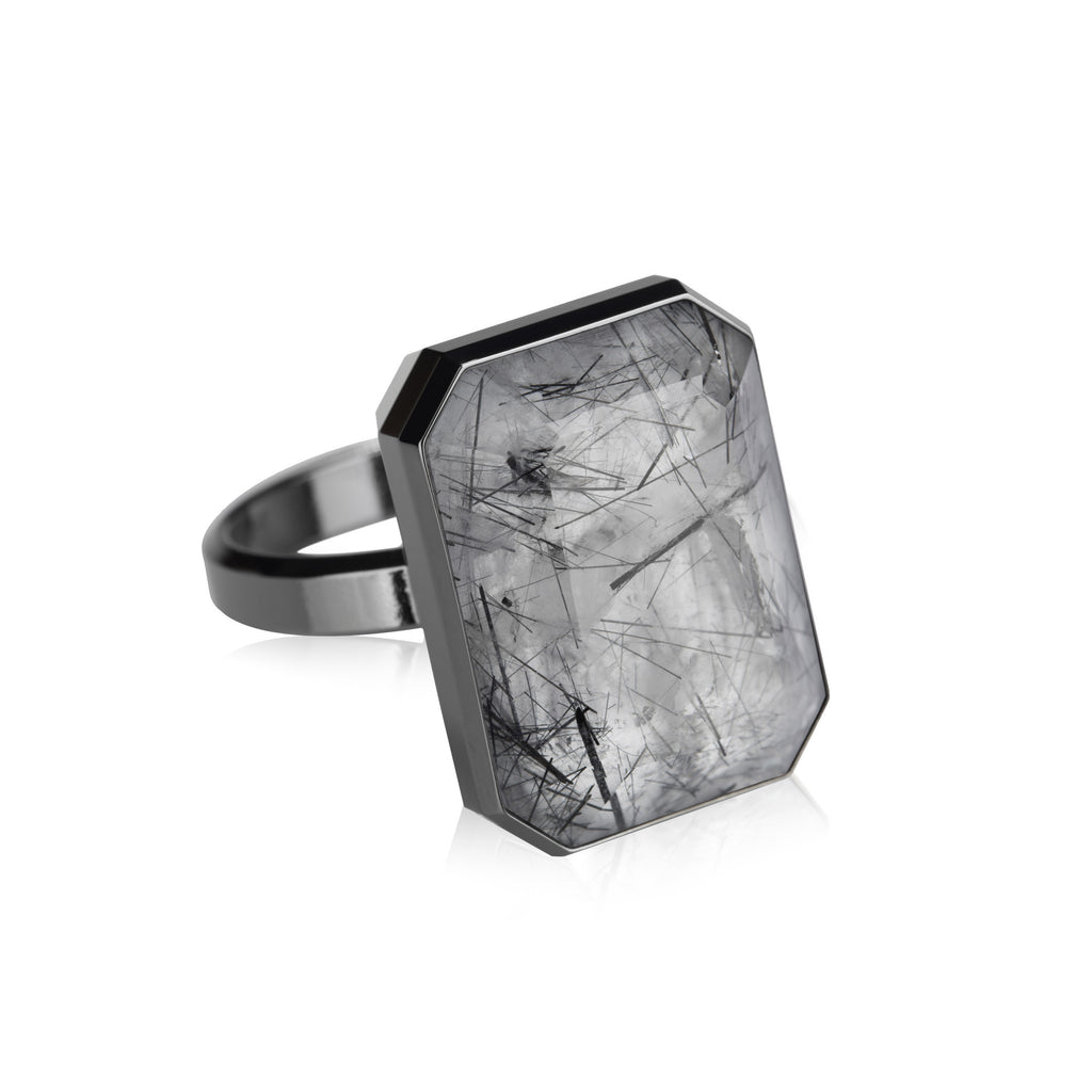 Smart Ring, Dive Bar Tourmalated Quartz, S6