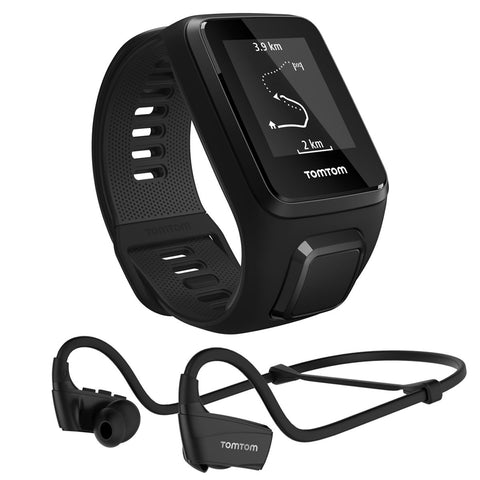 TomTom Spark 3 Music GPS Watch + Bluetooth Headphones, Black, Large