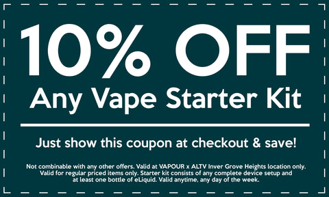 10% off Coupon Vapour Shoppe Altv CBD