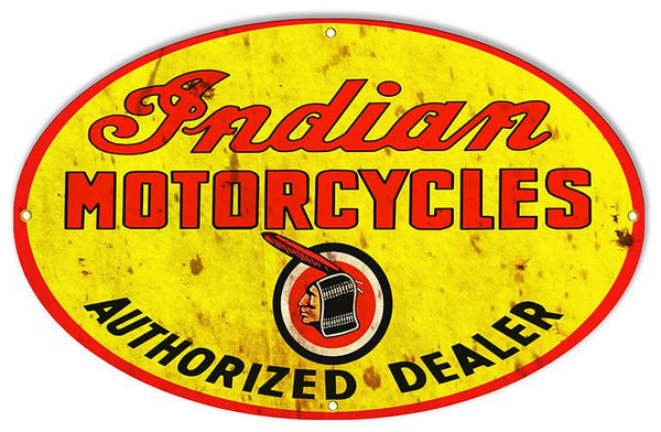 Motorcycle Reproduction Sign 15x24 Inch Oval