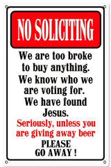No Soliciting Metal Sign