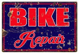 Aged Looking Bike Repair Sign