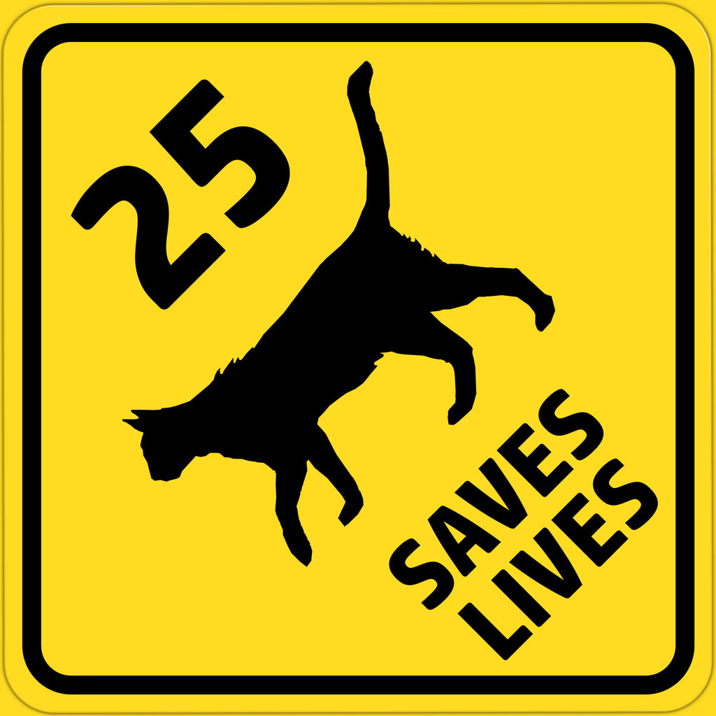 25 mph CAT SIGN Saves Lives 12x12