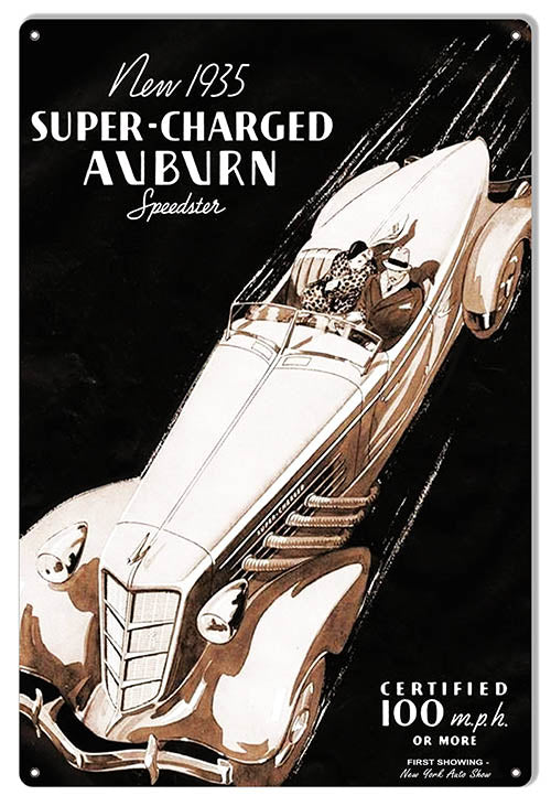 Auburn Speedster Classic Car Reproduction Garage Art Metal Sign 12x18