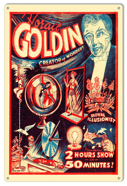 Horace Goldin Wall Art Reproduction Magician Metal Sign 12x18
