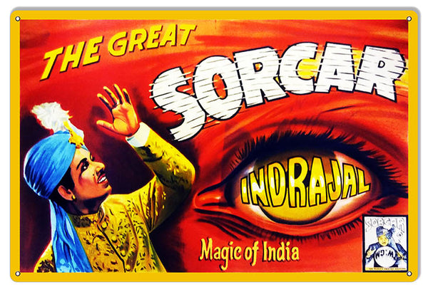 The Great Sorcar Wall Art Reproduction Magician Metal Sign 12x18