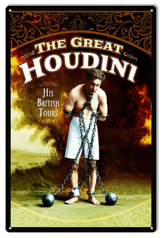 Houdini British Tour Wall Art Reproduction Magician Metal Sign 12x18