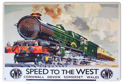 GWR Train Reproduction Railroad Metal Sign 12x18