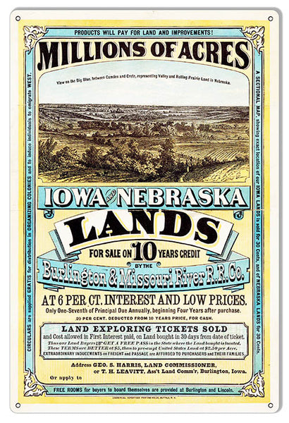 Iowa Nebraska Land For Sale Reproduction Country Metal Sign 12x18