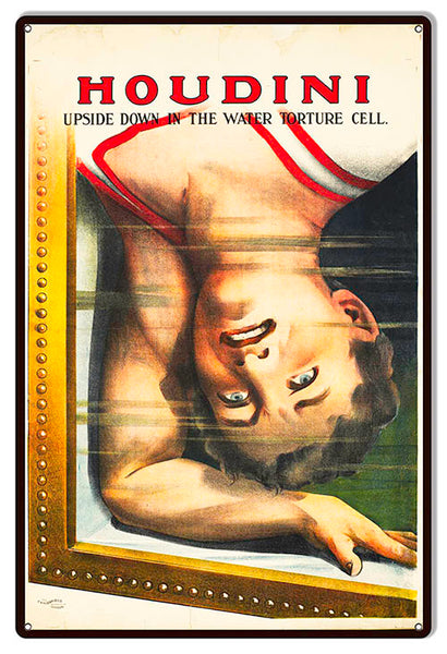 Houdini Torture Cell Wall Art Reproduction Magician Metal Sign 12x18