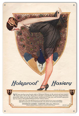 Hosiery Holeproof Wall Art Reproduction Nostalgic Metal Sign 12x18
