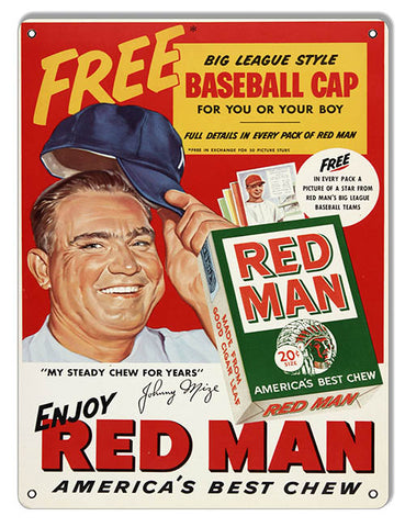 Red Man Cigarette Reproduction Cigar Metal Sign 9x12