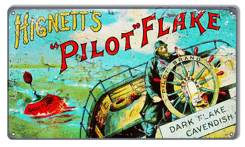Hignetts Pilot Flake Reproduction Nostalgic Metal Sign 8x14