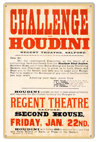 Houdini Challenge Reproduction Magician Metal Sign 12x18