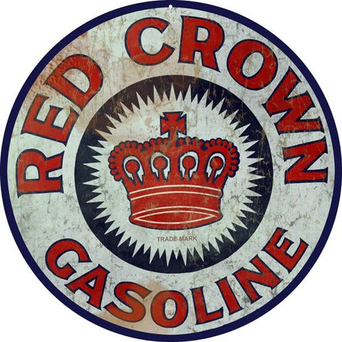 Red Crown Gasoline Reproduction Metal Sign 14 Round