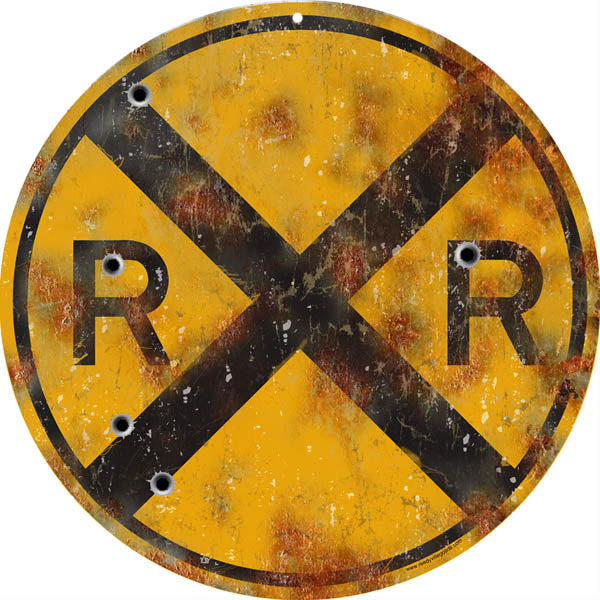 12″ Round Aged Looking RR Railroad Crossing Sign