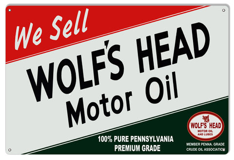 Large Reproduction Wolfs Head Motor Oil Metal  Sign 16″x24″