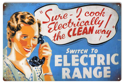 Reproduction Electric Range Metal  Sign
