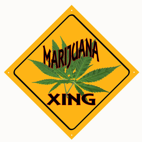 Marijuana Crossing Metal Sign 12x12