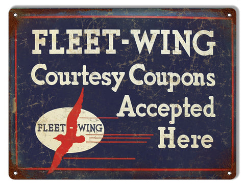 Fleet Wing Coupons Accepted Here Motor Oil Reproduction Metal  Sign 9″x12″