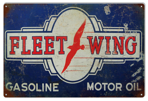 Distressed Fleet Wing Gasoline Reproduction Metal  Sign 12″x18″