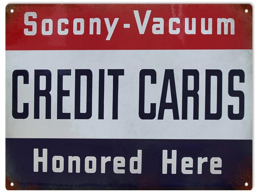 Aged Looking Socony Vacuum Reproduction Sign 9x12