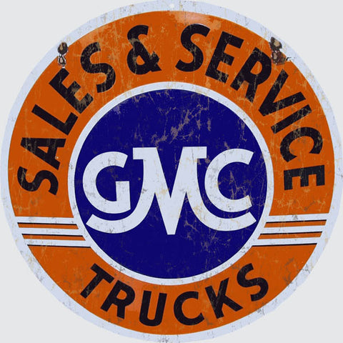 Reproduction GMC Sales And Service Sign 14 Round