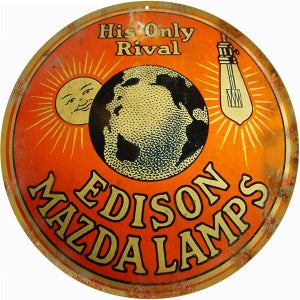 Edison Mazda Lamps Sign 14 Round Reproduction