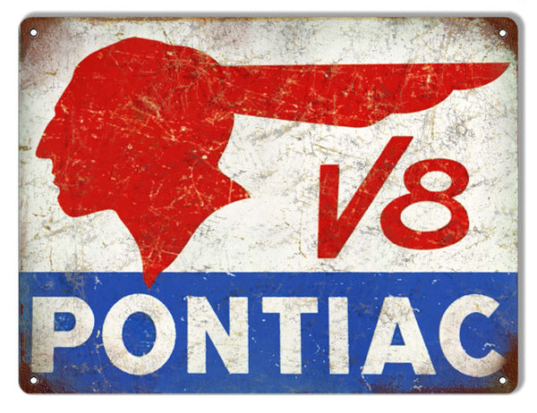 Aged Looking V8 Pontiac Motor Oil Metal  Sign 9″x12″