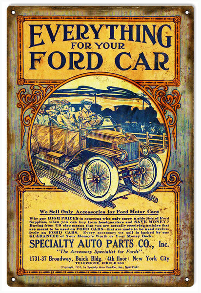 Ford Auto Parts Reproduction Vintage Sign 12x18